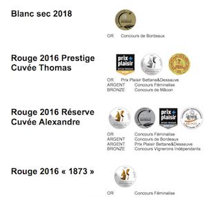 Vins médaillés en 2019